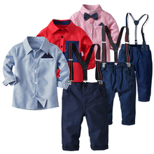 New Kids baby Boy cotton long sleeved pendant bow tie+ shirt