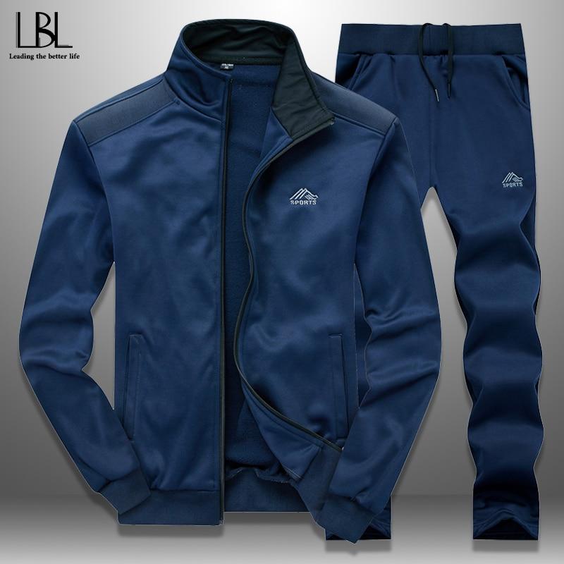 Men Tracksuit Set Slim Spring 2020 Sportswear Mens Sweatsuits Outwear Jacket Sweatpants Two Piece Sets Hombre Track Suit Man 4XL