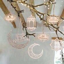 Ramadã eid molde de madeira artesanato, placa de madeira de lua decoração para casa pingente de ornamento islâmico suprimentos para festa