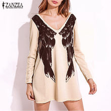 ZANEZA Women Fashion Angel Wings Printed Mini Dresses Casual Loose Sexy V Neck Long Sleeve Backless Long Tops Robe Vestidos Robe(China)