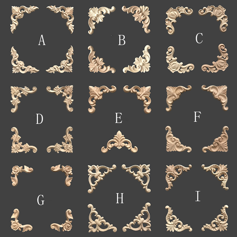 4pcs/lot, European Furniture Wooden Appliques, Decorative Frame Decals, Wall Door And Table Decorated Angle Flower (A1150)