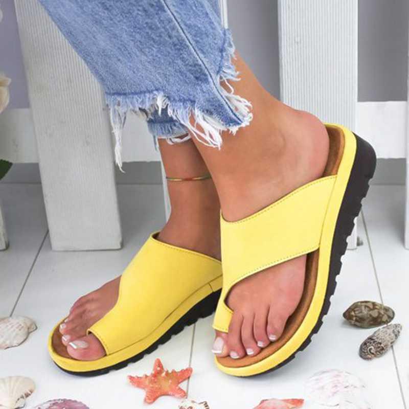 Женская обувь из искусственной кожи Удобные женские повседневные мягкие сандалии на плоской платформе с большим носком ортопедический корректор