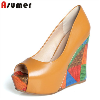 ASUMER 2020 top quality genuine leather shoes women pumps peep toe summer shoes mixed color snake wedge platform shoes woman