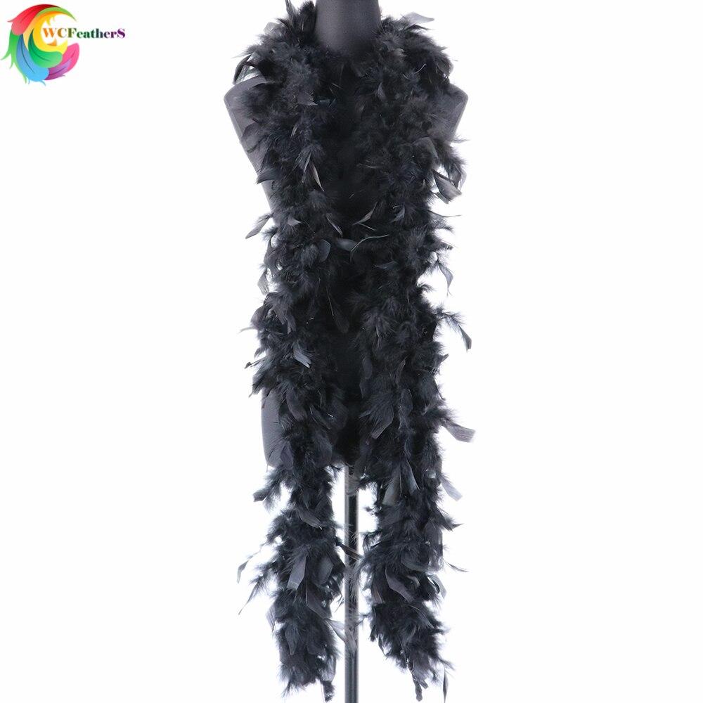 2 M Straußenfeder Streifen Borte Boa Gefärbt Schwarz Karneval Diy Kostüm