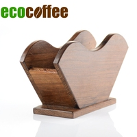 Ecocoffee Rosewood V60 Coffee Filter Shelf Barista Paper Filter Stand Bamboo Coffee Maker