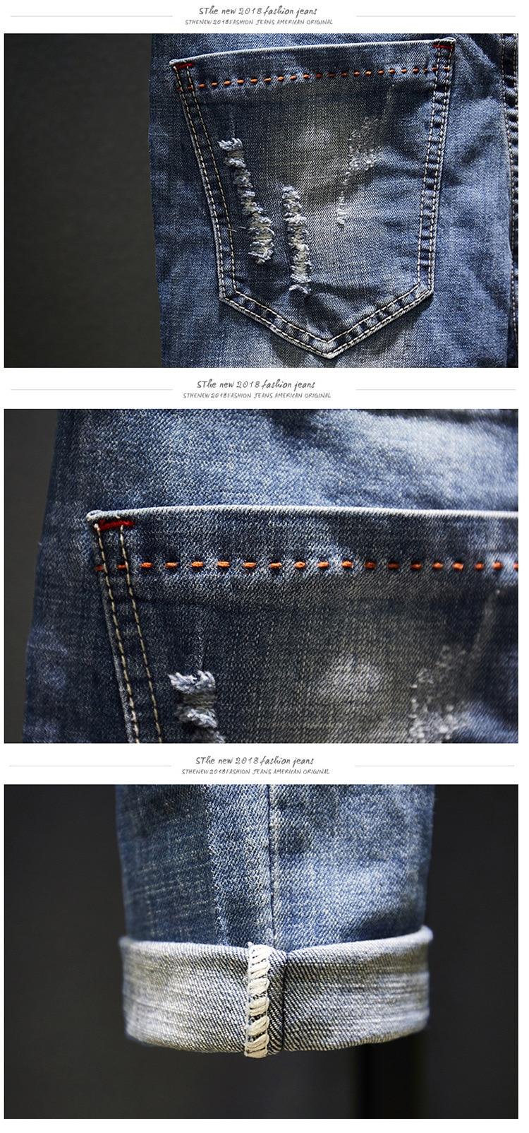 KSTUN Biker Jeans Men Ripped Slim Fit Light Blue Stretch Fashion 2020 Streetwear Frayed Hip Hop Distressed Denim Jeans Pants Man 13