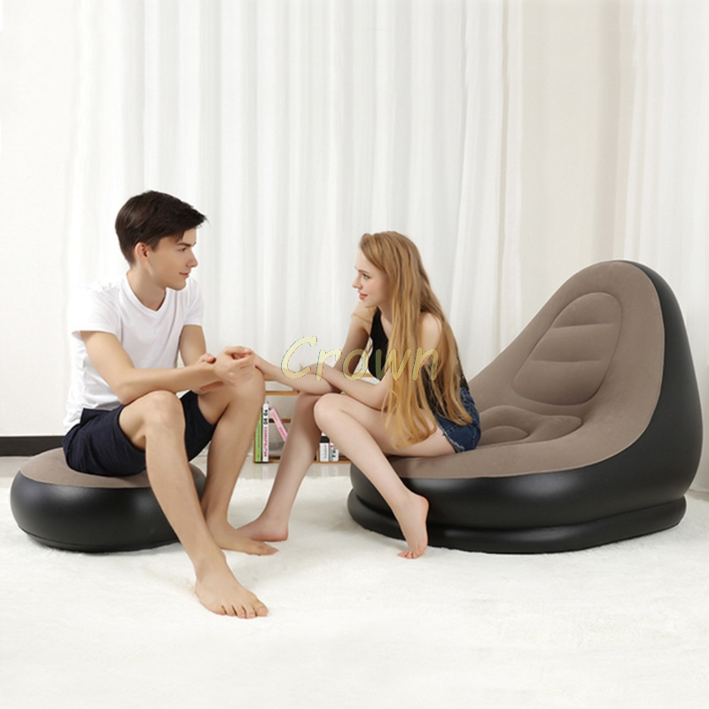 Inflatable Sofa With Foot Rest Home Leisure Living Room PVC Air Lounge Chairs  Cushion Stool Garden Lounger Furniture Infatables