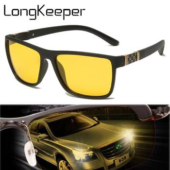 LongKeeper Night Vision Driver Sunglasses Men Polarized Sun Glasses Yellow TR90 Frame Square Eyewear Car Driving Goggles UV400 yellow lens matel frame men polarized sunglasses uv400 driving glasses for men 4 colors with box