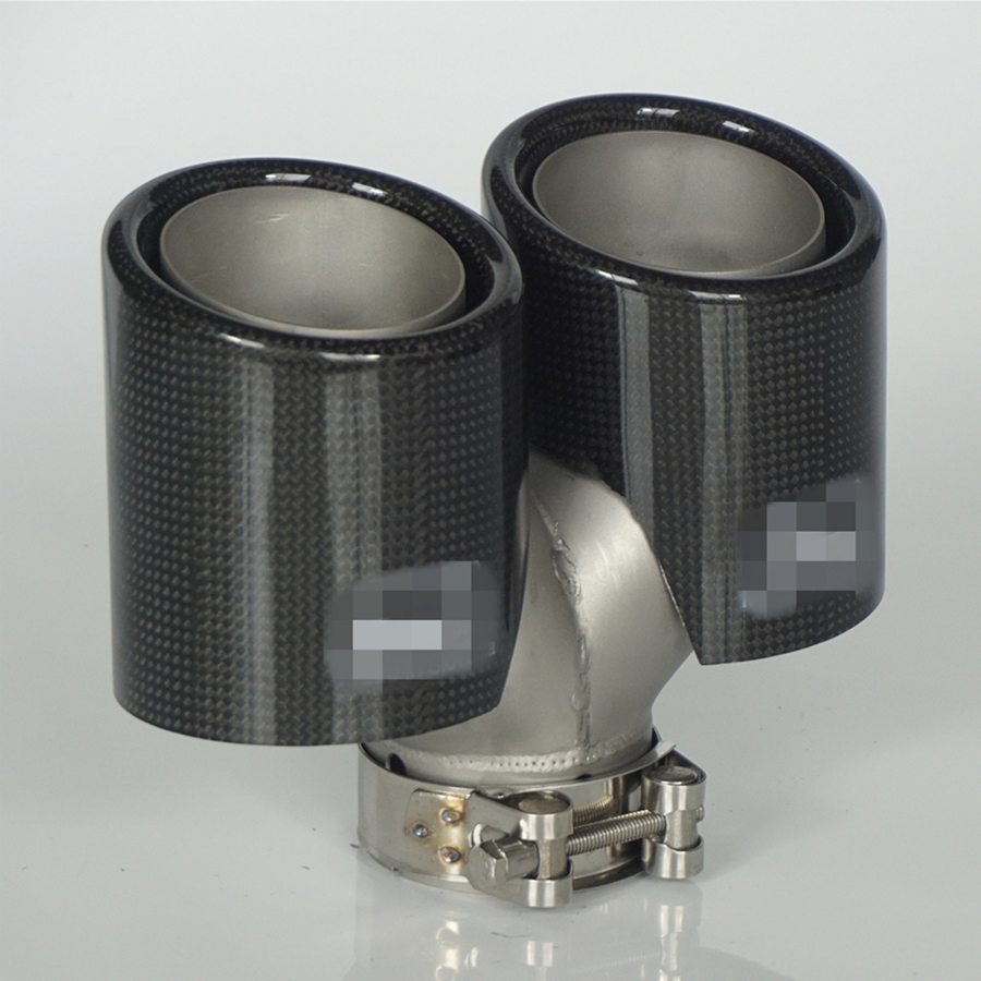 Short Type Inlet 63mm Outlet 89mm Real Carbon Fiber Dual End Exhaust Tip Muffler