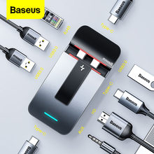 Baseus 9 in 1 USB C HUB Type C HUB to 4KHD RJ45 Jack 3.5 Multi USB 3.0 PD Adapter For MacBook Pro USB-C Splitter Type-c USBC HUB