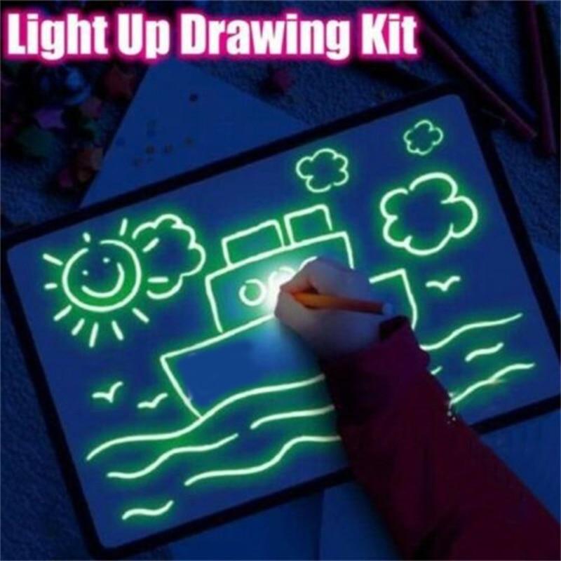 1 шт. A3-A5 светодиодный светящийся чертеж доска для рисования граффити Рисование планшет Волшебная Рисование со светом забавная и развивающа...