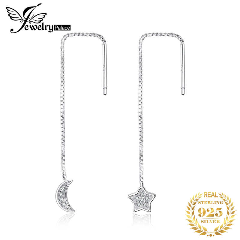 JewelryPalace Moon Star Thread Drop Earrings 925 Sterling Silver Earrings For Women Girls Korean Earrings Fashion Jewelry 2019