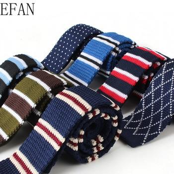 5cm Mens Knitted Knit Leisure Striped Tie Fashion Skinny Narrow Slim Neck Ties For Men Woven Designer Cravat