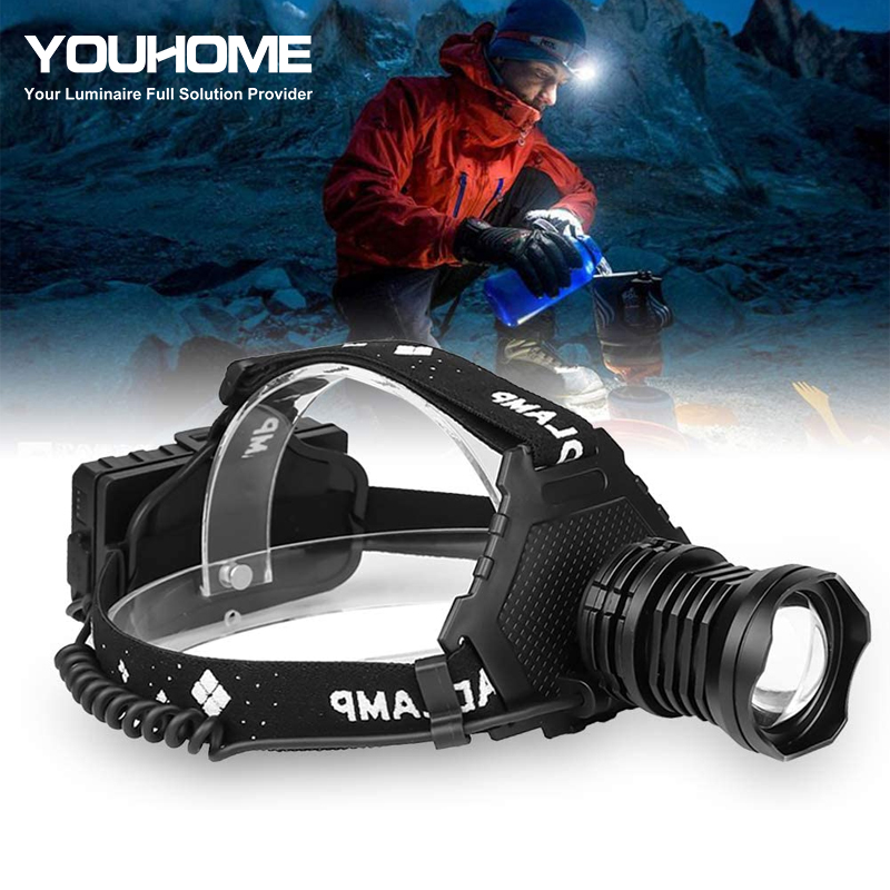 Dropshipping Powerful <font><b>LED</b></font> headlamp CREE XPH90 usb <font><b>rechargeable</b></font> 18650 battery waterproof Power bank Zoomable fishing <font><b>light</b></font> image