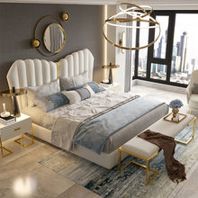 Cama de couro cama de casal pós-moderna cama de couro genuíno 1.8 m princesa cama de casal no quarto principal