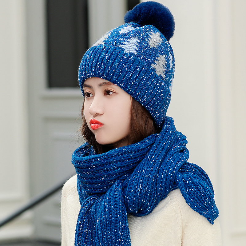 DeePom Winter Hat And Scarf Woman Collars Sets For Women Thick Warm Wool Knitted Hat With Scarf Ear Protection Thicken Velvet