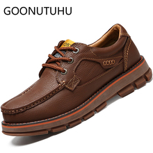 2019 new fashion men's shoes casual genuine leather male sneakers lace up shoe man comfortable shoes for men hot sale size 38-44 недорого