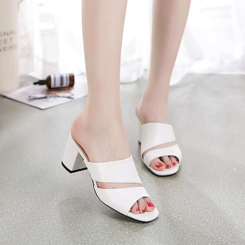 REAVE CAT Women Sandals Genuine Leather Shoes Ladies Summer Slippers Shoes Women High Heels Open Toe Thick Heel Mulers A571