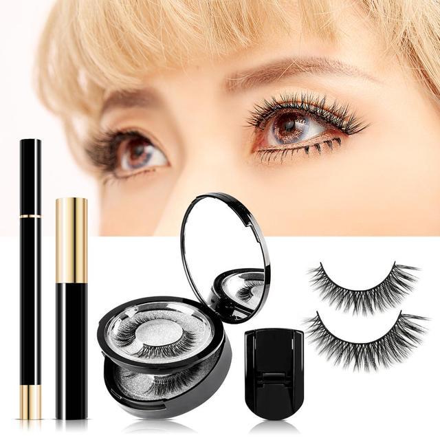 3 Pairs Magic False Eyelash Self-adhesive Lashes Eyeliner Mascara Eyelash Curler Set No Glue No Magnet Eyelash For Dropshipping 1