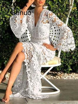 цена на Women Dresses Lace Dress Flare Sleeve V-neck Hollow Out Long Sleeve White Plus Size Sexy Long Dresses  Party Evening