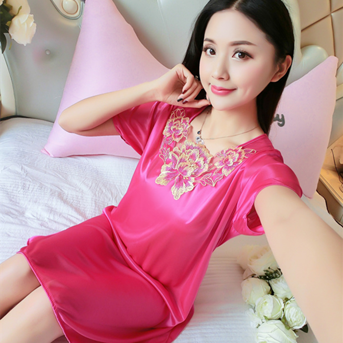 2018-WOMEN'S Pajamas Women's Summer Nightgown Viscose Loose And Plus-sized Silk Thin Type For Spring And Autumn Home Wear