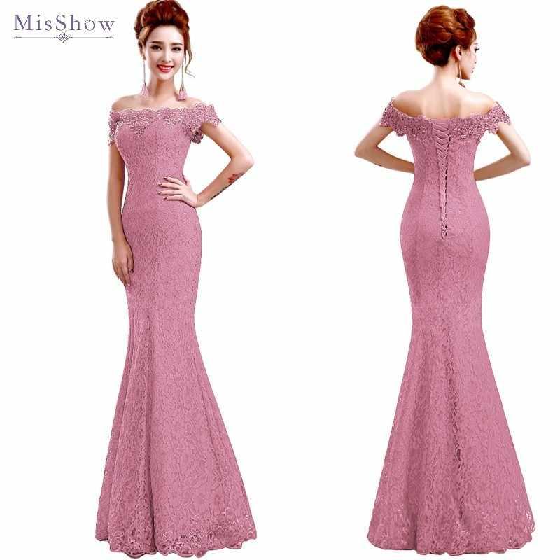 Misshow Mermaid Abito Da Sera 2020 Merletto di Colore Rosa Lungo Abito Formale Elegante Al Largo Della Spalla Senza Maniche Robe de Soiree