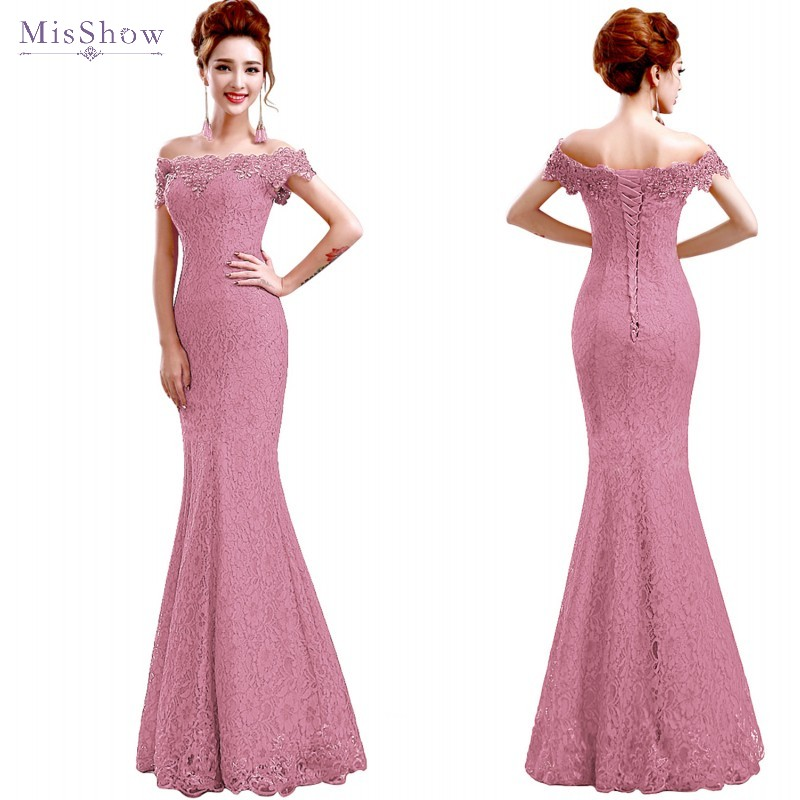 Misshow Mermaid Evening Dress 2020 Pink Lace Long Formal Gown Elegant Off The Shoulder Sleeveless Robe De Soiree