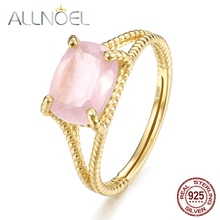 ALLNOEL Silver 925 Jewelry Rings For Women 100% Natural Green Agate Rose Quartz Crystal Finger Ring Wedding Brand Fine Jewelry