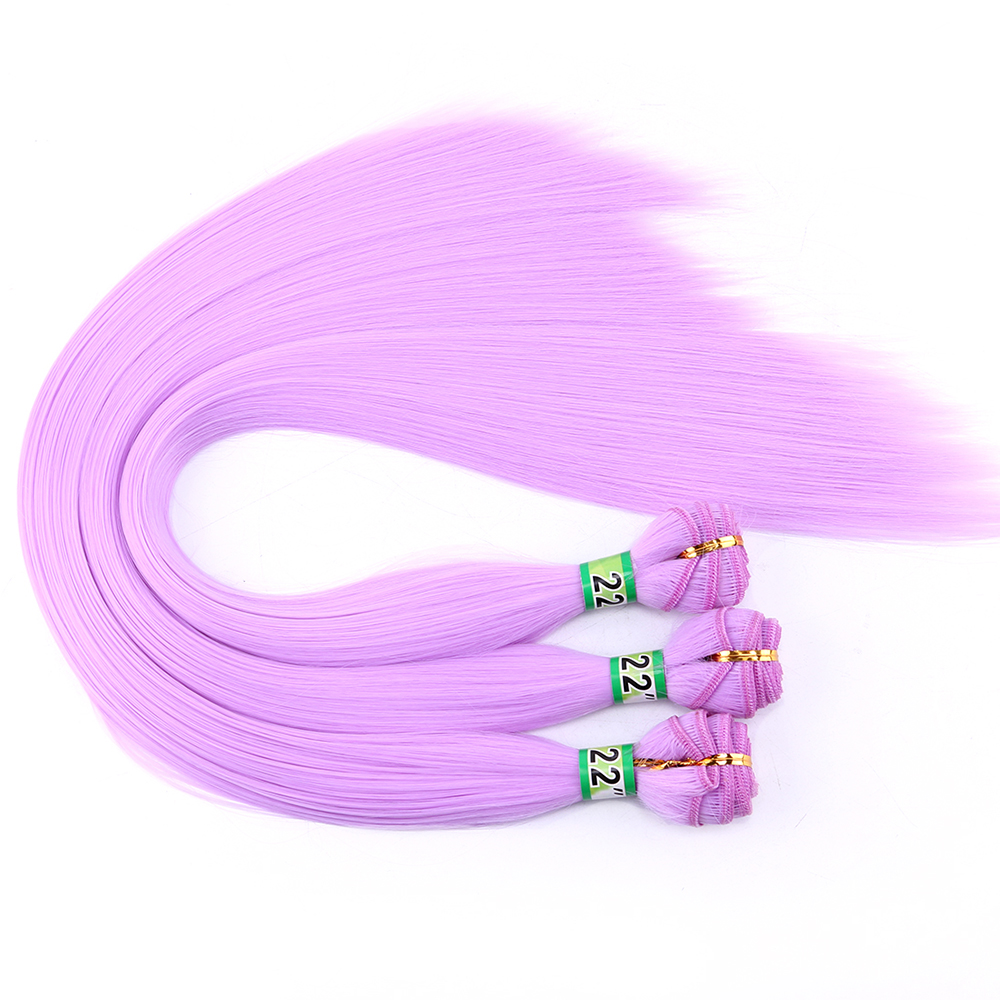 Purple Pink Green Yellow Silky Straight Cosplay hair Bundles 22 Inch 100 g Tissage Fiber Hair Weave Synthetic hair Extensions