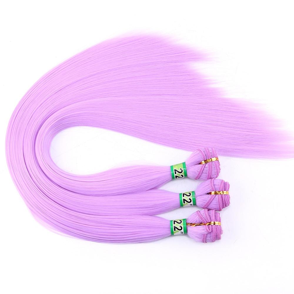 Roxo rosa verde sedoso em linha reta trama de cabelo macio 22 Polegada 100 grama uma peça tissage fibra tecer cabelo sintético extensão do cabelo