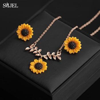 SMJEL colgante abierto collar de girasol hojas de sol pendientes de flores collares joyería de fiesta única regalos accesorios de ropa