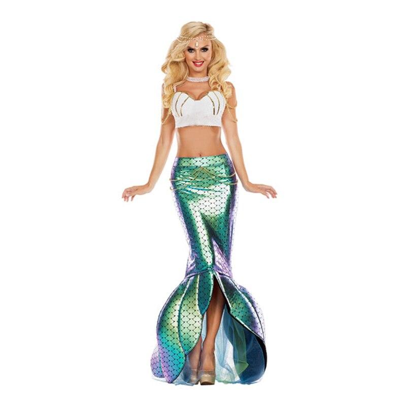Sexy Romantic Beauty Mermaid Costumes Adult Women Adult Princess Ariel Sea Maid Stage Suit Bra Mermaid Tail Halloween Costume