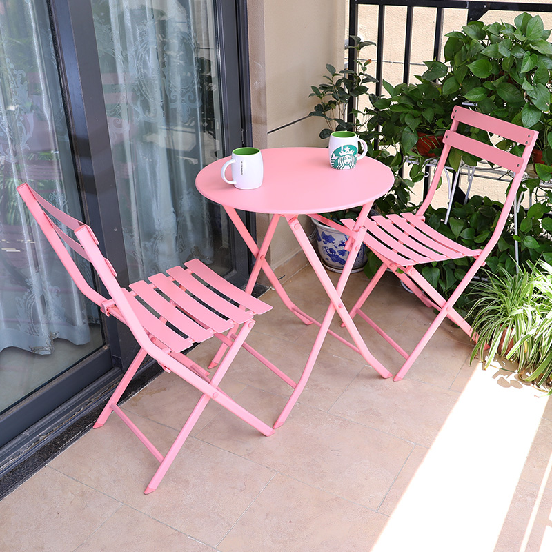 Balcony table and chair three-piece outdoor garden wrought iron garden terrace folding table milk tea cafe tables and chairs