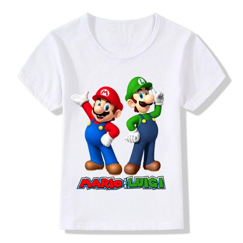 Super mario dos desenhos animados com luigi crianças engraçado camiseta bebê meninos meninas verão casual camisetas roupas dos miúdos, ooo5175 Camisetas    -