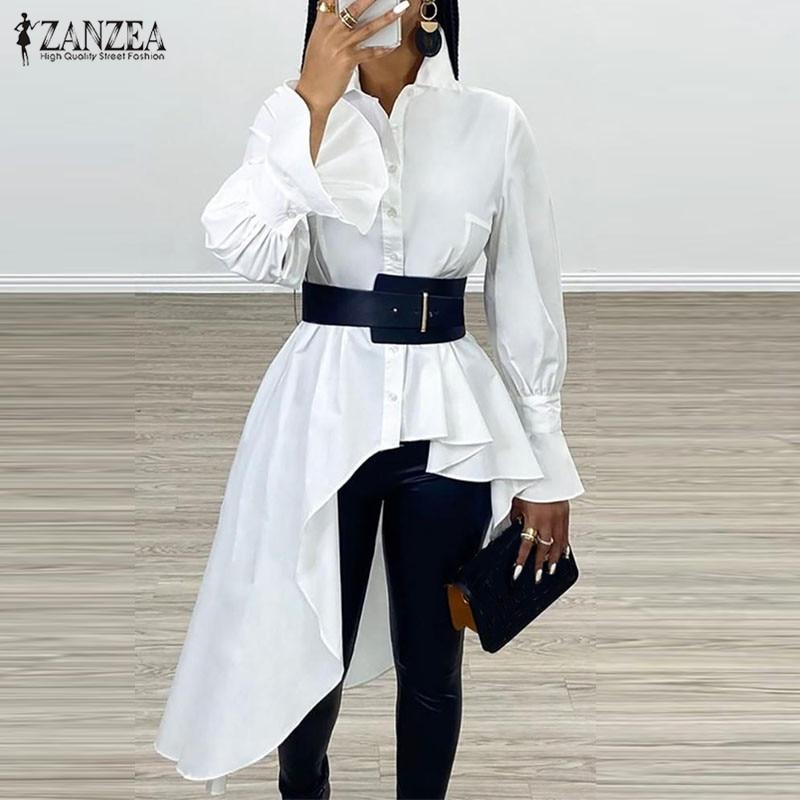 Women's Asymmetrical Blouse 2020 ZANZEA Elegant Flouce Sleeve Shirts Casual Button Down Blusa Female Lapel Tunic Oversized Top 7