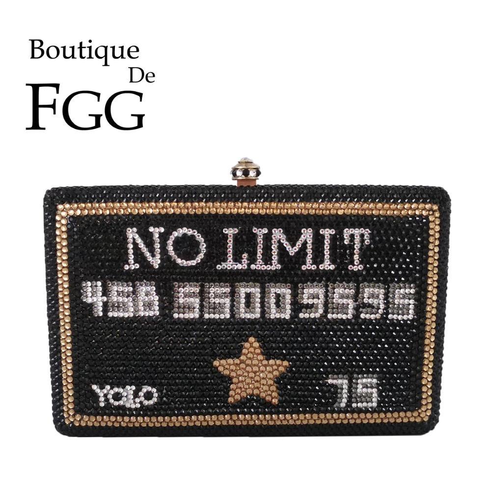 Boutique De FGG No Limited Black Card Yolo Women Crystal Clutch Purse Metal Box Evening Bags Wedding Party Minaudiere Handbags