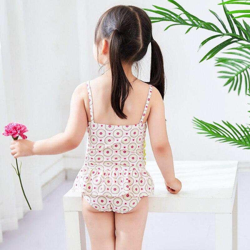 Korean-Style KID'S Swimwear Children Students Polka Dot Small Watermelon Both Sides Skirt Cute GIRL'S Temperature One-piece Swim