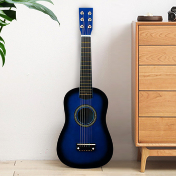 Mini 23 Inch Basswood 12 Frets 6 String Acoustic Guitar with Pick and Strings for Kids / Beginners(blue) Guitar