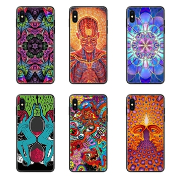 Black Soft TPU Case Capa Cover Cost Abstract Art Psychedelic Figures For Samsung Galaxy S5 S6 S7 S8 S9 S10 S10e S20 edge Lite image