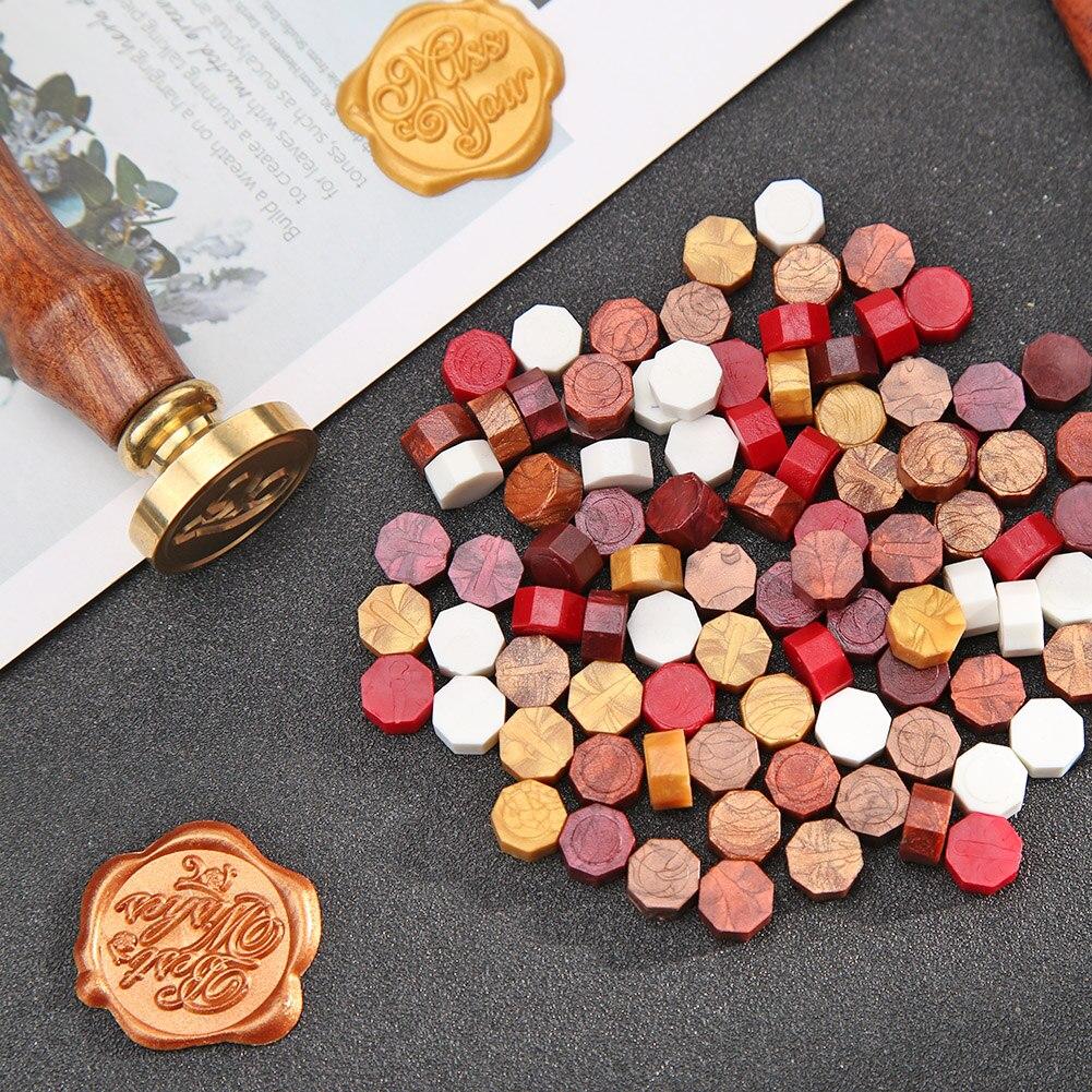 100pcs Octagon Elegant Retro Fire Painting Grain Pills Sealing Wax Granules Customs Safety Handbook Stamping Envelopes