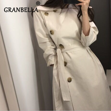 Elegant Oblique Button Slim   Trench   Coat Side Single Breasted Solid Color Loose Long Sleeve A-Line Casual Belt Female Windbreaker
