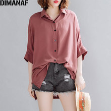 DIMANAF Plus Size Women Blouse Shirts Summer Basic Lady Tops Tunic Solid Casual Loose Batwing Sleeve Button Clothing Cardigan