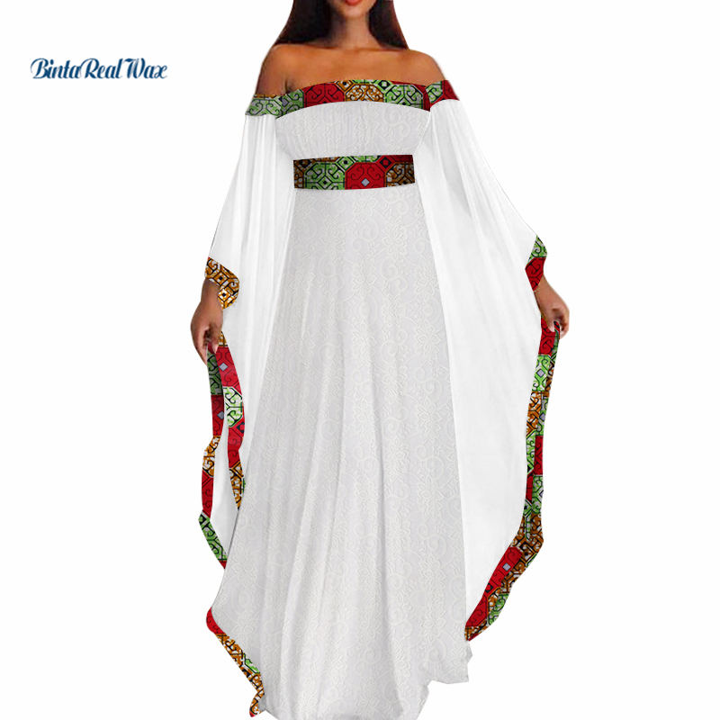 Bazin Riche White Lace Long Dress Women African Clothing Party Vestidos Dashiki African Patchwork Dresses For Women WY3493