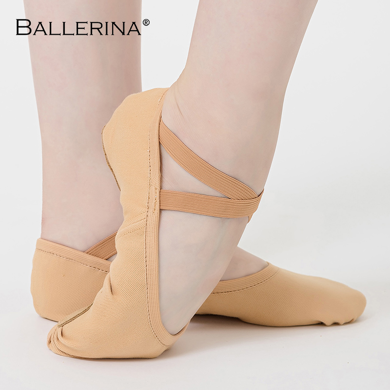 Ballerina Ballet Exercise Shoes Ballet Dance Soft Flats Women Pink Stretch Cotton Fabric  Women's Sports Shoes YMR02