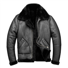 2020 Black Men American Style Winter B3 Bomber Shearling Coat Real Thick Sheepskin Military Pilot Leather Jacket FREE SHIPPING(China)