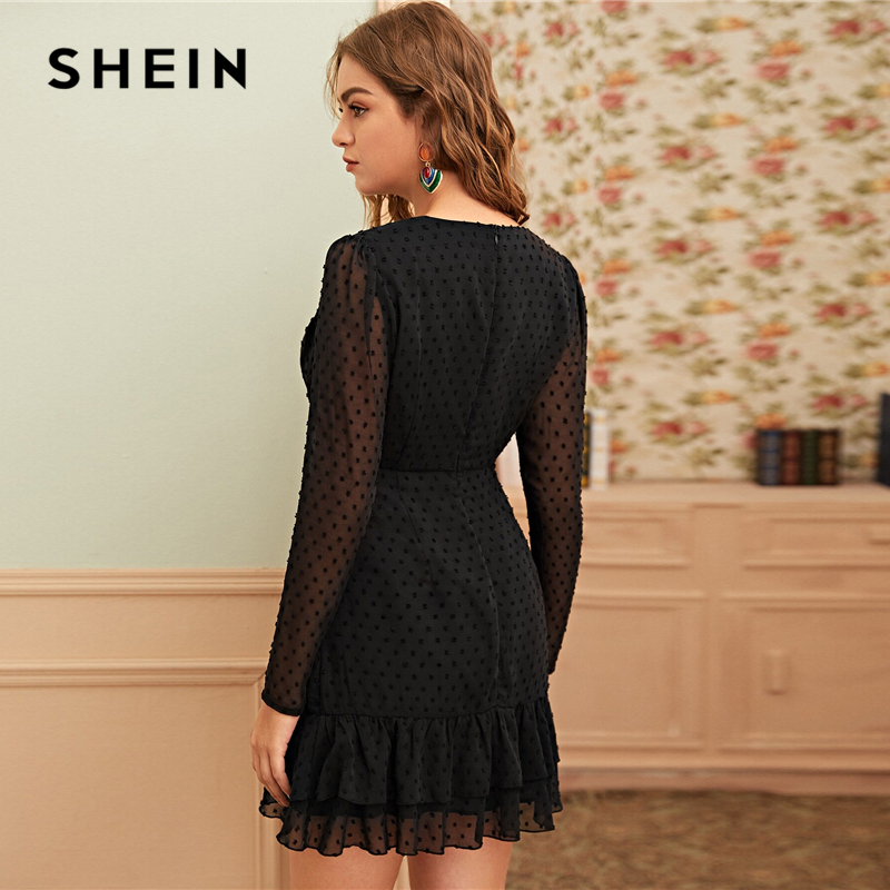 SHEIN Black Swiss Dot Surplice Front Ruffle Hem Mesh Dress Women Spring Summer High Waist V-neck A Line Elegant Short Dresses 2