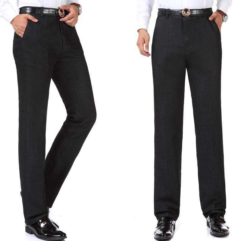 Autumn & Winter Middle-aged MEN'S Trousers Large Size High-waisted Straight-leg Pants Daddy Clothes Trousers Casual Pants Men's