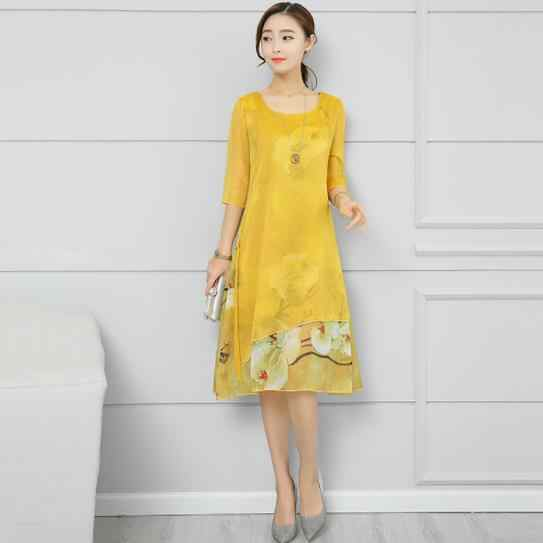 yellow chiffon silk Sukienki floral print plus size women long loose Sukienki autumn dress vestidos femininos 2019 dresses DC947