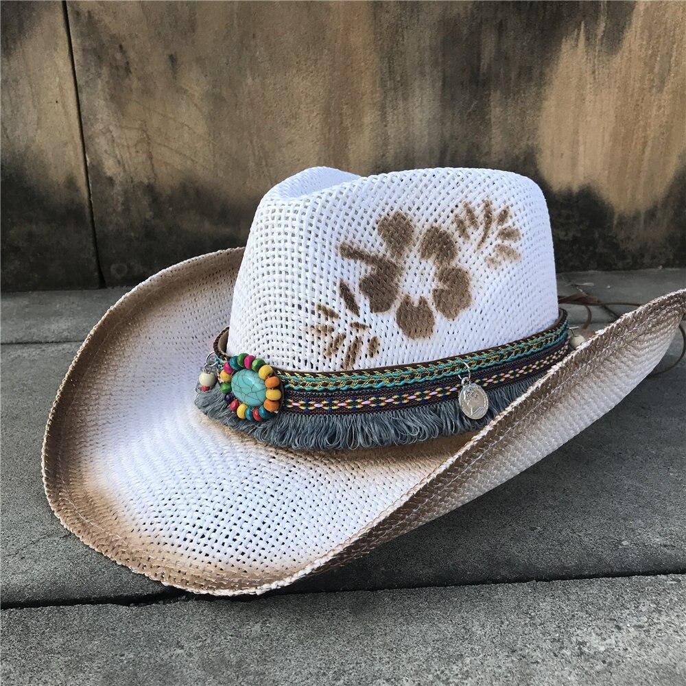 Western Cowboy Hat For Women Straw Tassel Sombrero Hombre Beach Wide Brim Cowgirl Jazz Sun Hat Size 56-58CM