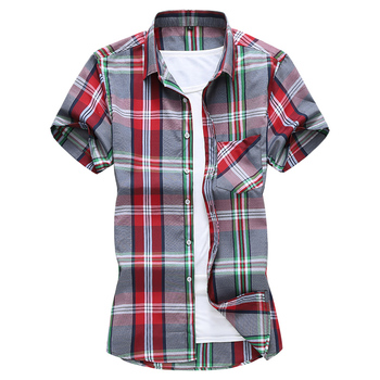 2020 summer fashion plaid shirt for men plus size 7xl short sleeve casual cotton male